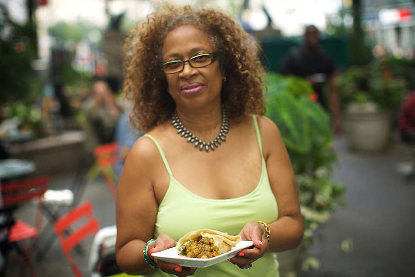 New York, NY - August 19, 2016:  Chef Elsie Darrell of Vendy Awards Best Vegan nominee Jerk Shack.<br /> <br /> CREDIT: Clay Williams for Gothamist.<br /> <br /> &copy; Clay Williams / claywilliamsphoto.com