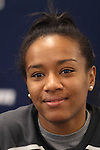 05 December 2013: Virginia's Morgan Stith. The head coach and selected players from teams participating in the 2013 Women's College Cup spoke to the media at WakeMed Stadium in Cary, North Carolina.