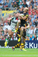 Joe Simpson of London Wasps secures the high ball during the Aviva Premiership match between London Wasps and Harlequins at Twickenham on Saturday 1st September 2012 (Photo by Rob Munro).