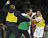 New York Cosmos No. 3 Hunter Gorskie, far right, and No. 14 Danny Szetela (with beard) celebrate with teammates after their 3-2 win over the Ottawa Fury in the NASL Championship at Shuart Stadium, located on the campus of Hofstra University, on Sunday, Nov. 15, 2015.<br /> <br /> James Escher