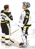 T.J. Hensick (University of Michigan - Howell, MI) and David Brown (Notre Dame - Stoney Creek, ON) take part in the 2007 Pontiac Frozen Four Skills Challenge on Friday, April 6, 2007, at the Scottrade Center in St. Louis, Missouri.