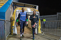 Goalkeeper Jamal Blackman of Wycombe Wanderers & Goalkeeper / Coach Barry Richardson of Wycombe Wanderers prepare to warm up before the The Checkatrade Trophy  Quarter Final match between Mansfield Town and Wycombe Wanderers at the One Call Stadium, Mansfield, England on 24 January 2017. Photo by Andy Rowland.