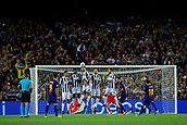 12th September 2017, Camp Nou, Barcelona, Spain; UEFA Champions League Group stage, FC Barcelona versus Juventus; Leo Messi of FC Barcelona takes a free kick over teh Juve wall