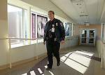 WATERBURY, CT-27January 2005-012705TK07  Marie DeAngelis of St. Mary's security  patrols the corridors St. Mary's Hospital. Tom Kabelka staff photo (Marie DeAngelis, St. Mary's, security office)