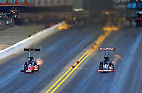 Jul. 27, 2013; Sonoma, CA, USA: NHRA top fuel dragster driver Steve Torrence (right) races alongside David Grubnic during qualifying for the Sonoma Nationals at Sonoma Raceway. Mandatory Credit: Mark J. Rebilas-