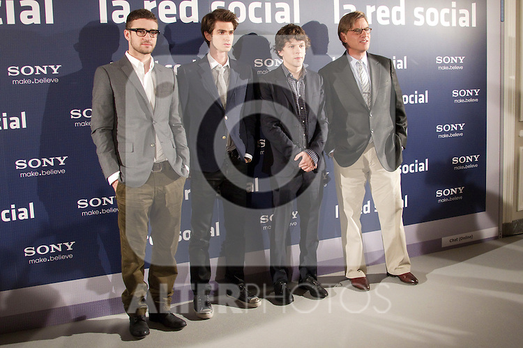 US actors Justin Timberlake, Andrew Garfield and Jesse Eisenberg and US scenarist Aaron Sarkoin attend 'The Social Network' photocall at the Villamagna Hotel on October 6, 2010 in Madrid, Spain...Photo: Cesar Cebolla / ALFAQUI