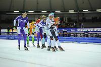 SCHAATSEN: HEERENVEEN: 25-10-2014, IJsstadion Thialf, Marathonschaatsen, KPN Marathon Cup 2, Imke Vormeer (#93), Irene Schouten (#80), Mariska Huisman (#76), ©foto Martin de Jong