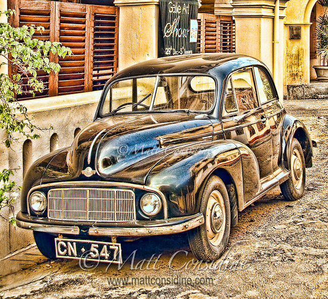 Old vintage classic Morris Minor car parked on street.<br /> (Photo by Matt Considine - Images of Asia Collection)