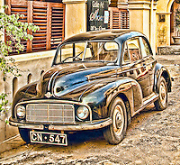 Old vintage classic Morris Minor car parked on street. (Photo by Matt Considine - Images of Asia Collection)
