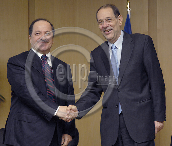 Brussels-Belgium - 08 May 2007---Javier SOLANA (ri),.High Representative for the Common Foreign and Security Policy and Secretary-General of the Council of the European Union, receives Massoud BARZANI (le), President of the Autonomous Kurdish Government in Iraq and leader of the Kurdistan Democratic Party---Photo: Horst Wagner/eup-images