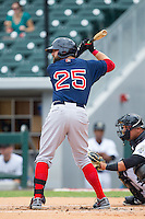 Bryce Brentz (25) of the Pawtucket Red Sox at bat against the Charlotte Knights at BB&T Ballpark on August 8, 2014 in Charlotte, North Carolina.  The Red Sox defeated the Knights  11-8.  (Brian Westerholt/Four Seam Images)