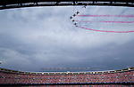 Panoramic view with the Patrulla Aguila flying over the stadium during the last match to be played by Atletico de Madrid at Vicente Calderon Stadium in Madrid, May 28, 2017. Spain.. (ALTERPHOTOS/Rodrigo Jimenez)