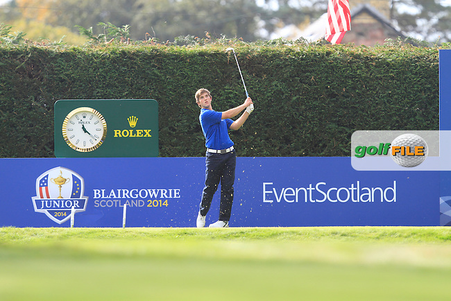 Bradley Neil (SCO) on the 15th tee during Day 2 Singles for the Junior Ryder Cup 2014 at Blairgowrie Golf Club on Tuesday 23rd September 2014.<br /> Picture:  Thos Caffrey / www.golffile.ie