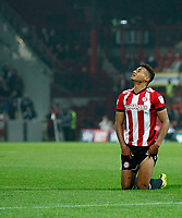 Ollie Watkins of Brentford can't hide his anguish during the Sky Bet Championship match between Brentford and Derby County at Griffin Park, London, England on 26 September 2017. Photo by Carlton Myrie / PRiME Media Images.