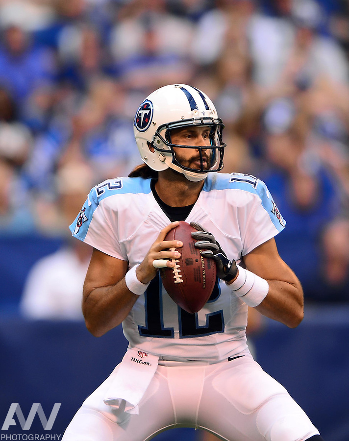 Sep 28, 2014; Indianapolis, IN, USA; Tennessee Titans quarterback Charlie Whitehurst (12) looks to pass during the second quarter against the Indianapolis Colts at Lucas Oil Stadium. Mandatory Credit: Andrew Weber-USA TODAY Sports