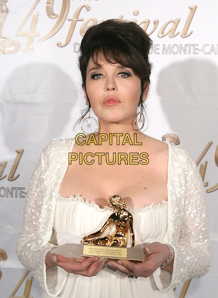 ISABELLE ADJANI .The Golden Nymph Awards - Closing Night Ceremony for the 49th Monte Carlo Television Festival, Grimaldi Forum, Monaco, France, .11th June 2009..half length award trophy white cream jacket sequined sparkly .CAP/RD .©Richard Dean/Capital Pictures