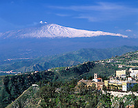 Italy, Sicily, view from Taormina at volcano Etna