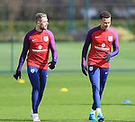 England's Jordan Henderson and Dele Alli during training at the Tottenham Hotspur Training Centre.  Photo credit should read: David Klein/Sportimage