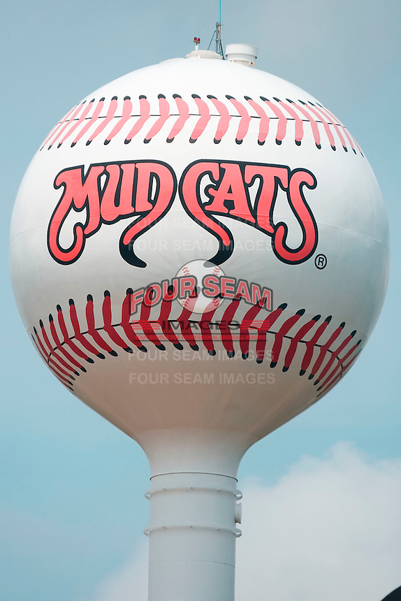 A water tower is painted like a baseball with the Carolina Mudcats logo just outside of Five County Stadium August 16, 2009 in Zebulon, North Carolina. (Photo by Brian Westerholt / Four Seam Images)