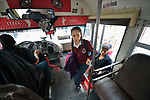 Yarely Arellano boards a bus in the Mexican city of Juarez as she travels home after crossing the border from the United States, where she studies at the Lydia Paterson Institute, a United Methodist sponsored high school in El Paso, Texas. Arrelano, 20, makes the journey every school day.