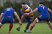 Vini Iosua charges in to the gap between Suliasi Taufalele and Vini Iosua. Counties Manukau Premier Club Rugby game between Patumahoe and Ardmore Marist, played at Patumahoe on Saturday July 9th 2016.<br /> Ardmore Marist won the game 33 - 24 after leading 18 - 12 at halftime. Photo by Richard Spranger.