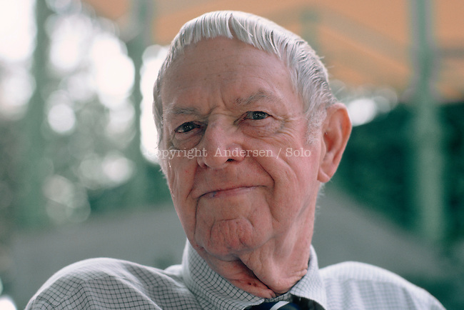 Erskine Caldwell, American writer ( 1903-1987) at book fair in 1983, in Nice, France.