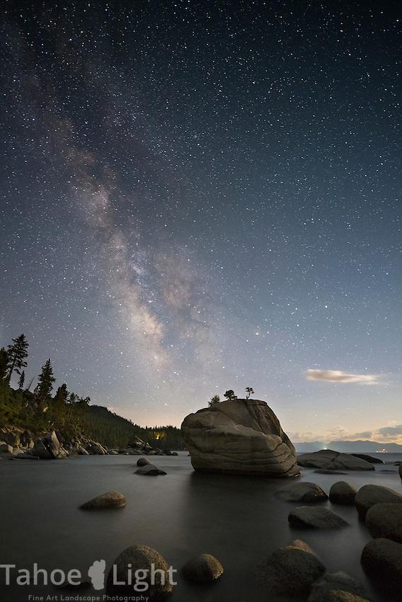 Bonsai rock under the Milky Way galaxy at night at Lake Tahoe, in Incline Village, Nevada.