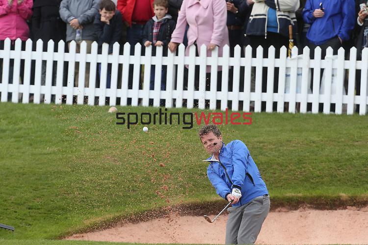 Ant & Dec showing off their golf skills during the Celebrity Golf @ Golf Live..Celtic Manor Resort.11.05.13.©Steve Pope