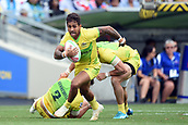 January 27th, Hamilton, New Zealand;  Australia's Maurice Longbottom in action during the Day 2 of the HSBC World Rugby Sevens Series 2019, FMG Stadium Waikato,Hamilton, Sunday 27th January 2019.