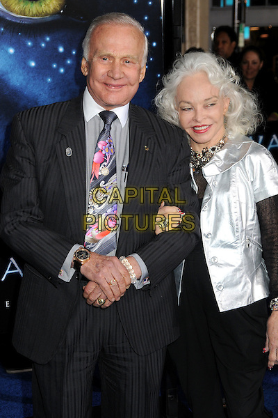 "EDWIN ""BUZZ"" ALDRIN & LOIS ALDRIN .""Avatar"" Los Angeles Premiere held at Grauman's Chinese Theatre, Hollywood, California, USA, 16th December 2009..half length married husband wife suit grey gray shirt pinstripe black silver jacket tie .CAP/ADM/BP.©Byron Purvis/Admedia/Capital Pictures"