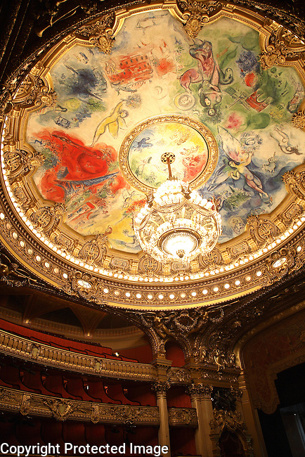 Chagall Ceiling, the Auditorium, Palais Garnier Opera House, Paris, France