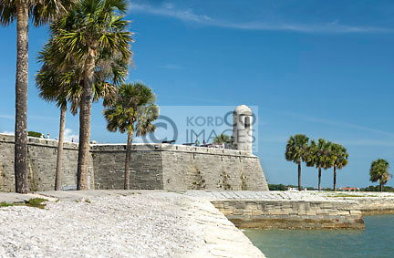 PALM TREES CASTILLO SAN MARCO NATIONAL MONUMENT <br /> SAINT AUGUSTINE FLORIDA USA