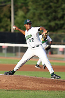 June 27th 2008:  Pitcher Geury Ramirez of the Jamestown Jammers, Class-A affiliate of the Florida Marlins, during a game at Russell Diethrick Park in Jamestown, NY.  Photo by:  Mike Janes/Four Seam Images
