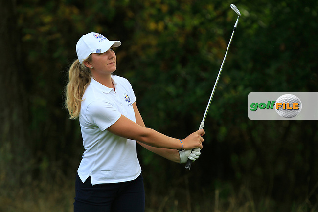 Linnea Strom (SWE) on the 14th hole of the Mixed Fourballs during the 2014 JUNIOR RYDER CUP at the Blairgowrie Golf Club, Perthshire, Scotland. <br /> Picture:  Thos Caffrey / www.golffile.ie