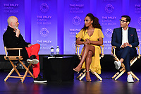 "HOLLYWOOD, CA - MARCH 23: Ryan Murphy, Janet Mock and Steven Canals at PaleyFest 2019 for FX's ""Pose"" panel at the Dolby Theatre on March 23, 2019 in Hollywood, California. (Photo by Vince Bucci/FX/PictureGroup)"
