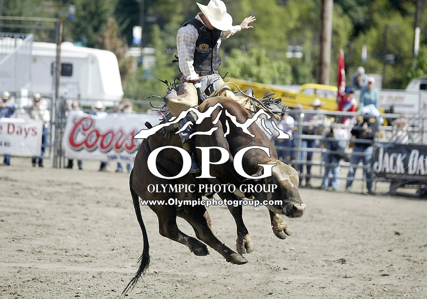 26 Aug 2007:  Richard Echols riding the bull Cherry Bomb scored a 83 in the Extreme Bulls competition at the Kitsap County Thunderbird PRCA Pro Rodeo Extreme Bulls in Bremerton, Washington.