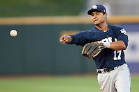 New Orleans Zephyrs second baseman Donovan Solano #17 throws to first during the Pacific Coast League baseball game against the Round Rock Express on May 2, 2012 at The Dell Diamond in Round Rock, Texas. The Express defeated the Zephyrs 10-5. (Andrew Woolley / Four Seam Images)