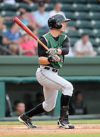 Outfielder Ryan Lollis (14) of the Augusta GreenJackets, Class A affiliate of the San Francisco Giants, in a game against the Greenville Drive on August 27, 2011, at Fluor Field at the West End in Greenville, South Carolina. Greenville defeated Augusta, 10-4. (Tom Priddy/Four Seam Images)