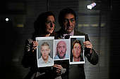 Kate Johnston (National Manager for Crimestoppers Scotland) and Paul Stanfield (Regional Manager Serious Organised Crime Agency) with images of Scotland's three Most Wanted criminals in Operation Captura - l to r - William Paterson (wanted after a shooting at Asda Robroyston) - Derek Ferguson (wanted in connection with a death in Bishopbriggs) and Andrew Spooner (wanted in connection to drugs offences in Edinburgh) - Operation Captura is the multi-agency campaign which looks to arrest criminals in Spain who are wanted in the UK - Picture by Donald MacLeod - 21.2.11 - 07702 319 738 - www.donald-macleod.com
