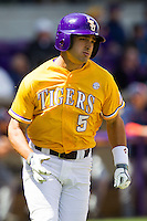 LSU Tigers outfielder Chris Sciambra #5 runs to first base against the Auburn Tigers in the NCAA baseball game on March 24, 2013 at Alex Box Stadium in Baton Rouge, Louisiana. LSU defeated Auburn 5-1. (Andrew Woolley/Four Seam Images).