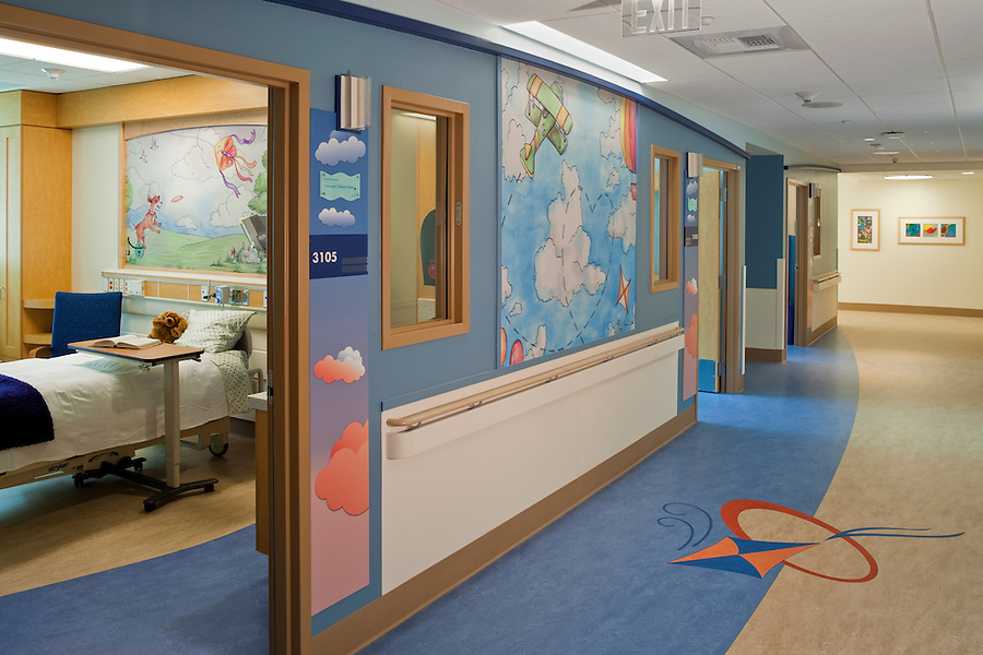 The new Rady Children's Hospital in San Diego California was designed by Anshen &amp; Allen Architects (now Stantec) and Aesthetics, Inc., and completed in September of 2010. The interiors are playful, imaginative and state of the art for medical design. <br /> Interior design details include original art created by San Diego area teenagers, blown up to wall graphic size, original mosaics created by Kim Emerson and landscape design by Royston Hanamoto &amp; Abey