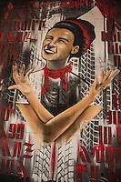 Milano, quartiere della Barona, murales dedicato alla nascita della Repubblica del 2 giugno 1946, ispirato alla prima pagina del Corriere della Sera (da una foto di Federico Patellani)