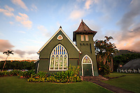 Wai`oli Hui`ia Church at sunset; it is the oldest church on Kaua'i and a historical landmark.