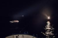 Die Sea Watch-2 Crew war am Freitag den 21. Oktober 2016 in den fruehen Morgenstunden waehrend ihrer 13. SAR-Mission vor der libyschen Kueste zu einer Position ausserhalb der 12 Meilenzone gerufen worden. Es war ein Fluechtlingsschlauchboot gesichtet worden. Als die Sea Watch-2 dort eintraf sah sie ca. 150 Menschen zusammengepfercht in einem ueberfuellten Schlauchboot sitzen. Eine Versorgung der Menschen auf dem Fluechtlingsschlauchboot mit Rettungswesten durch die Rettungs Boote der Sea Watch-2 wurde von der libyschen Kuestenwache unterbunden. Ein Soldat der Kuestenwache enterte das Schlauchboot vom Bug und machte sich dann an dem Aussenbordmotor zu schaffen. Auf dem Weg dahin schlug und trat er die Gefluechteten ein. Nach einigen Minuten entfernte sich das Boot der Kuestenwache. Dann verlor der Bug des Schlauchbootes seine Luft und es brach Panik bei den Gefluechteten aus. Sie sprangen in das Wasser und versuchten zum Schiff Sea Watch-2 zu gelangen. Die Crew warf ihnen Schwimmwesten und Rettungsringe zu, die Besatzungen der Rettungsboote der Sea Watch-2 zogen Menschen aus dem Meer, dennoch sind bis zu 30 Menschen ertrunken. Vier Ertrunkene konnten von der Sea Watch geborgen werden.<br /> 21.10.2016, Mediterranean Sea<br /> Copyright: Christian-Ditsch.de<br /> [Inhaltsveraendernde Manipulation des Fotos nur nach ausdruecklicher Genehmigung des Fotografen. Vereinbarungen ueber Abtretung von Persoenlichkeitsrechten/Model Release der abgebildeten Person/Personen liegen nicht vor. NO MODEL RELEASE! Nur fuer Redaktionelle Zwecke. Don't publish without copyright Christian-Ditsch.de, Veroeffentlichung nur mit Fotografennennung, sowie gegen Honorar, MwSt. und Beleg. Konto: I N G - D i B a, IBAN DE58500105175400192269, BIC INGDDEFFXXX, Kontakt: post@christian-ditsch.de<br /> Bei der Bearbeitung der Dateiinformationen darf die Urheberkennzeichnung in den EXIF- und  IPTC-Daten nicht entfernt werden, diese sind in digitalen Medien nach &sect;95c UrhG rechtlich geschuetzt. Der 