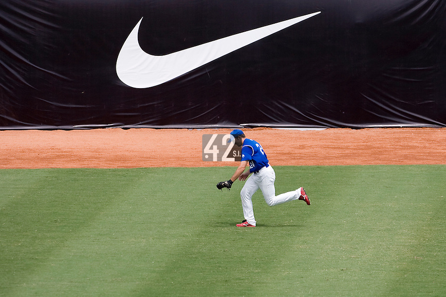 22 August 2007: Gaspard Fessy catches the ball in the field  during the Japan 9-4 victory over France in the Good Luck Beijing International baseball tournament (olympic test event) at west Beijng's Wukesong Baseball Field in Beijing, China.