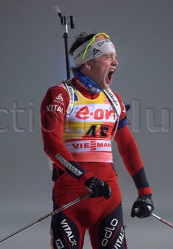 07 01 2011  Oberhof IBU World Cup Biathlon Sprint Men 10km Tarjei Boe NOR screams in triumph as he finishes the Biathlon World Cup 2010 2011