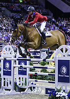 OMAHA, NEBRASKA - APR 2: Charlie Jacobs rides Cassinja S during the Longines FEI World Cup Jumping Final at the CenturyLink Center on April 2, 2017 in Omaha, Nebraska. (Photo by Taylor Pence/Eclipse Sportswire/Getty Images)