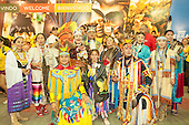The Canadian delegation perform a ceremonial dance at the International Indigenous Games in Brazil. 25th October 2015