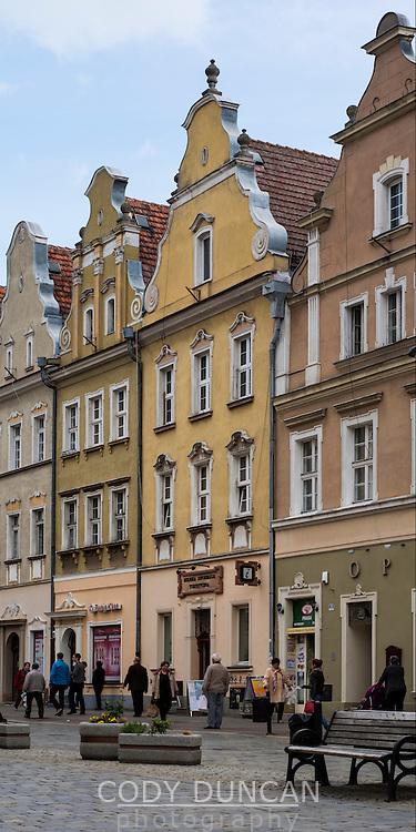 Historic buildings along Rynek market square, Opole, Silesia, Poland