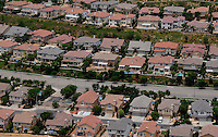 July. 10, 2009; Los Angeles, CA, USA; Aerial view of housing community houses residental. Mandatory Credit: Mark J. Rebilas